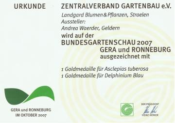 Unsere Auszeichungen auf der Bundesgartenschau 2007