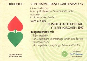 Unsere Auszeichungen auf der Bundesgartenschau 1997